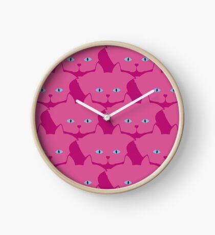 Pink Cat Cattern [Cat Pattern] Clock