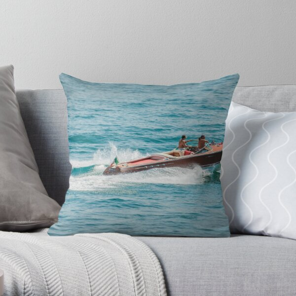 boat on the lago maggiore (003) Throw Pillow