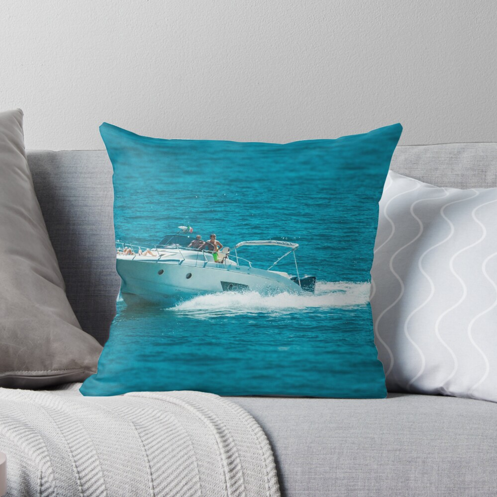 boat on the lago maggiore (001) Throw Pillow