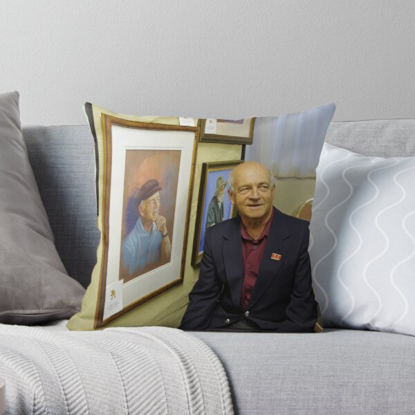 Ted with his portrait Throw Pillow