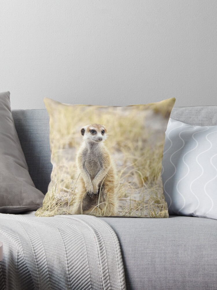 Meerkat Throw Pillow By Sabvaning Redbubble