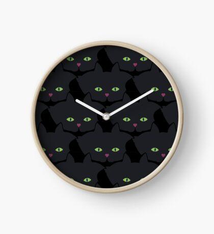 Pink Heart-Nose Solid Black Cat Cattern [Cat Pattern] Clock