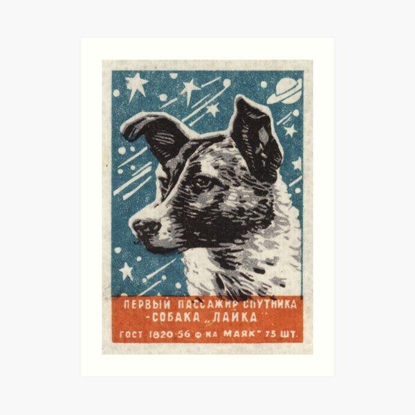 Laika the dog - Soviet Space Art, USSR Matchbox Design, 1957 Art Print