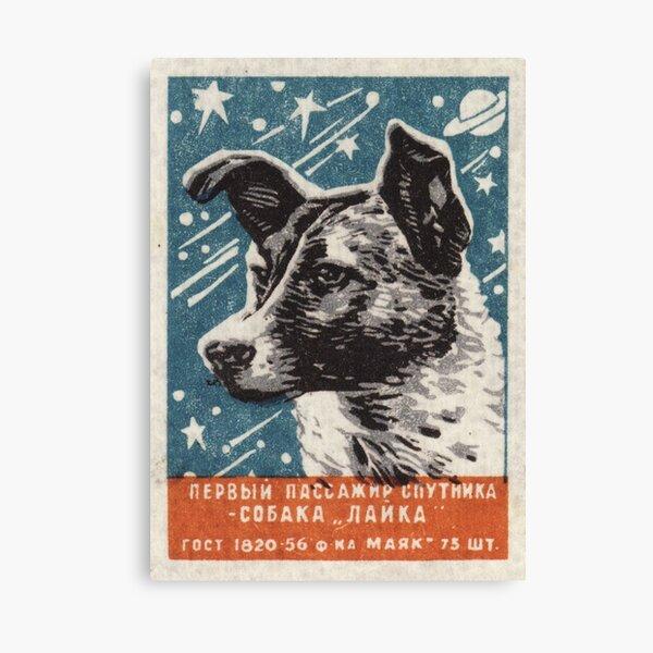 Laika the dog - Soviet Space Art, USSR Matchbox Design, 1957 Canvas Print