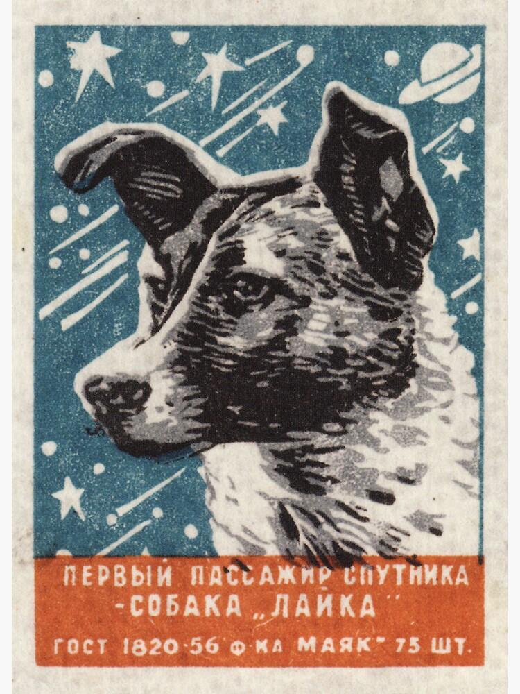 Laika the dog - Soviet Space Art, USSR Matchbox Design, 1957 by dru1138