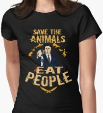 save the animals, EAT PEOPLE (6) Womens Fitted T-Shirt