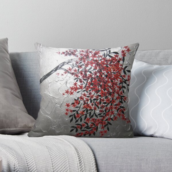 red black and silver cherry blossom tree art Throw Pillow