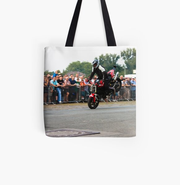 motorcycle stunt 001 All Over Print Tote Bag