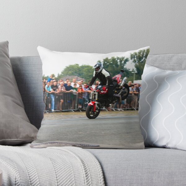 motorcycle stunt 001 Throw Pillow