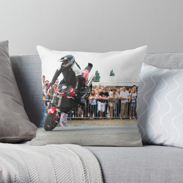 motorcycle stunt 005 Throw Pillow