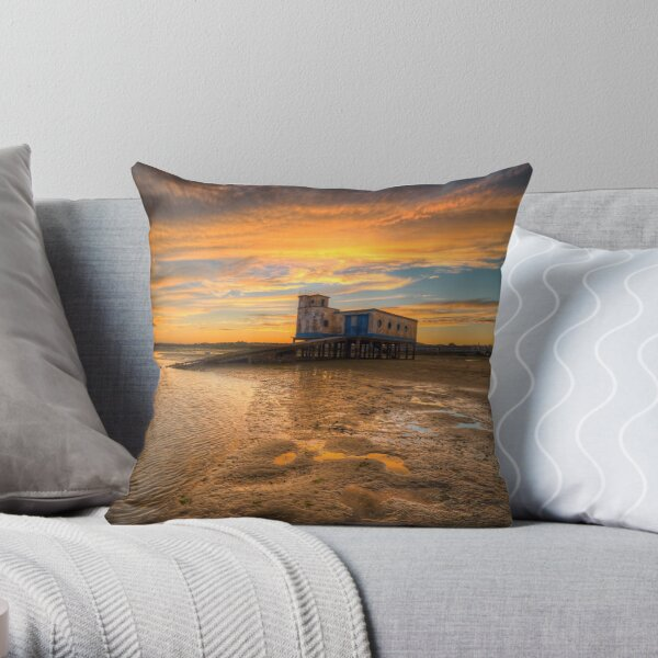Lifeboat Station Sunset Throw Pillow