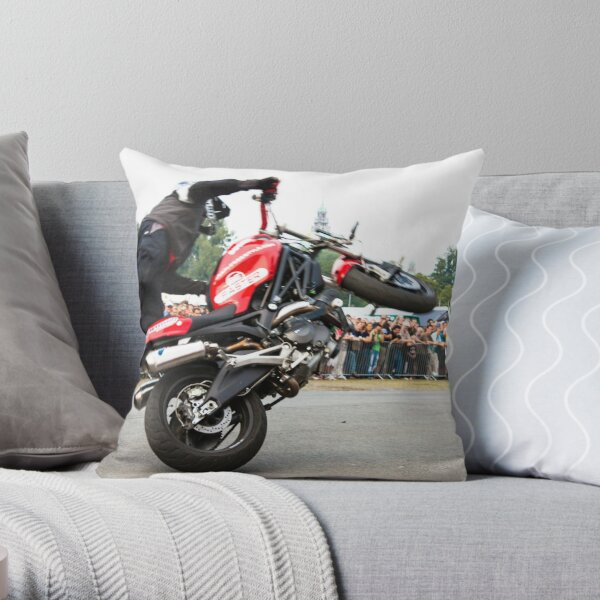 motorcycle stunt 008 Throw Pillow