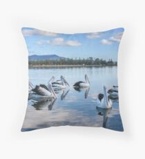 Pelicans at Wagonga Inlet Throw Pillow