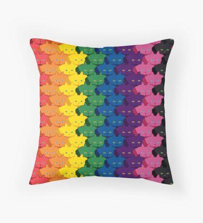 Rainbow Vertical Stripe Cattern [Cat Pattern] Throw Pillow