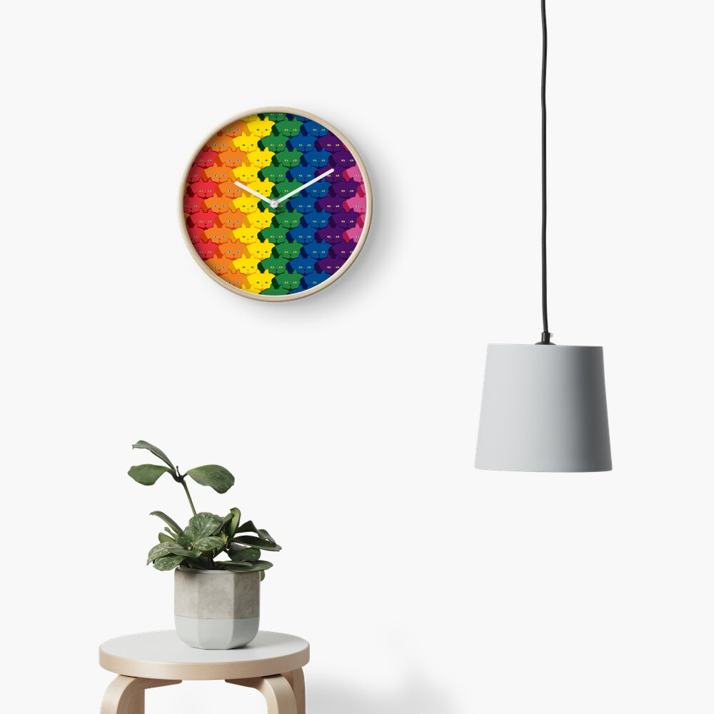 Rainbow Vertical Stripe Cattern [Cat Pattern] Clock