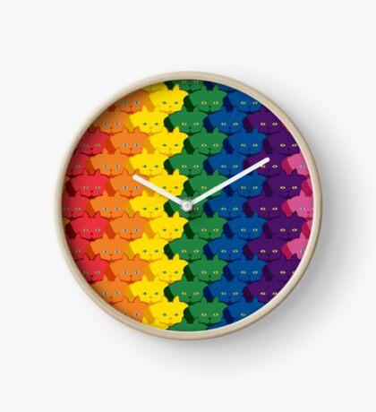 Rainbow Vertical Stripe Cattern [Cat Pattern] Clock