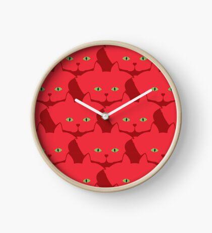 Solid Red Cat Cattern [Cat Pattern] Clock