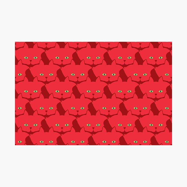 Solid Red Cat Cattern [Cat Pattern] Photographic Print