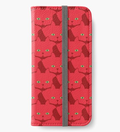 Solid Red Cat Cattern [Cat Pattern] iPhone Wallet