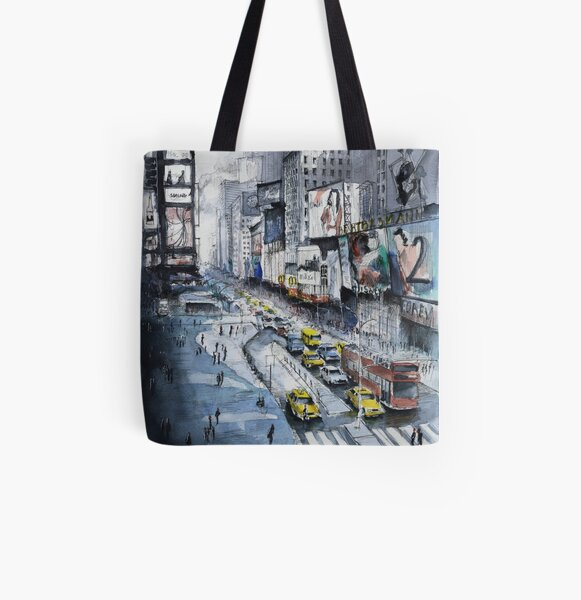 Time Square - Watercolor All Over Print Tote Bag