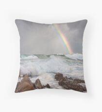 Rainbow over Yabarra Beach Throw Pillow