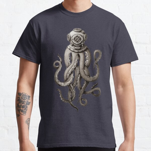 Release the Kraken, Cthulhu, Deep Sea Diving Helmet Octopus Attacking Diver Fun T-shirts and Gifts for Men Women and Kids Classic T-Shirt