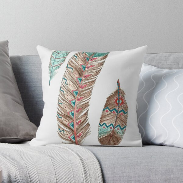 Feathers 3 Peach and Blue Throw Pillow