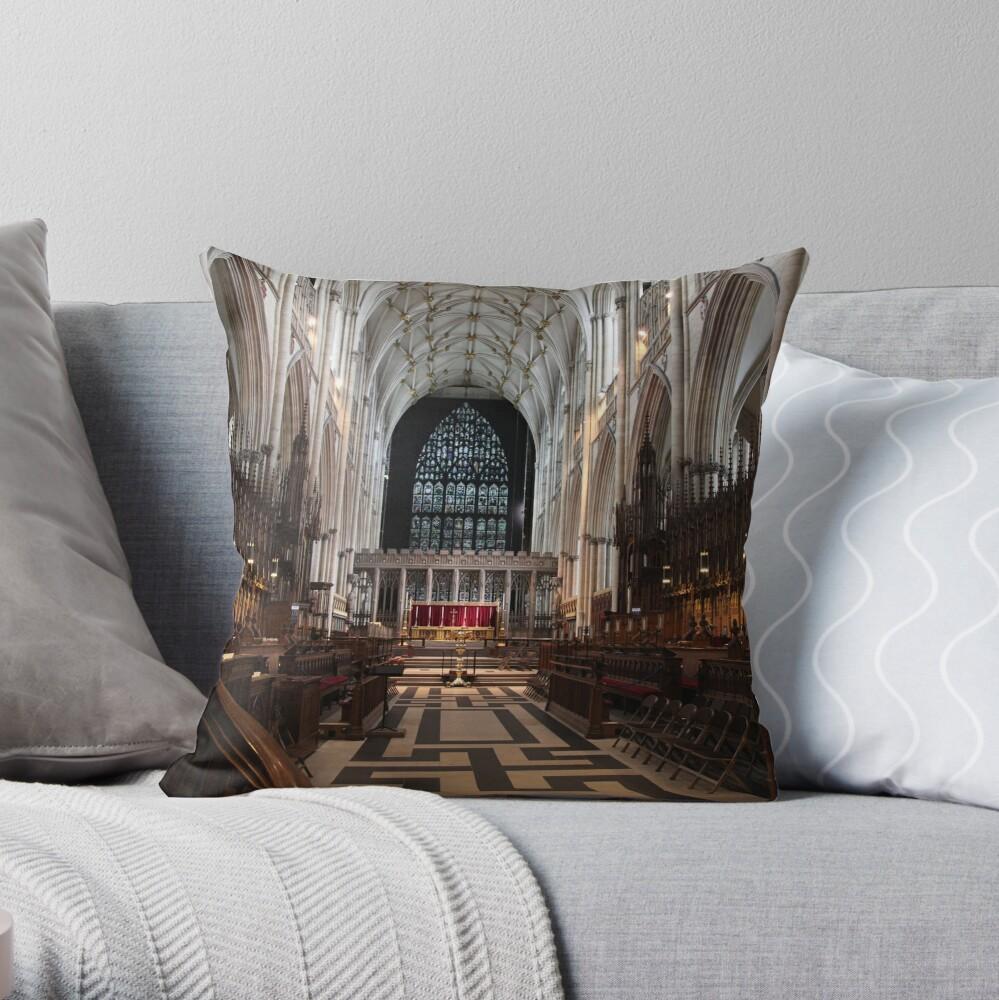 The Choir, York Minster. Throw Pillow