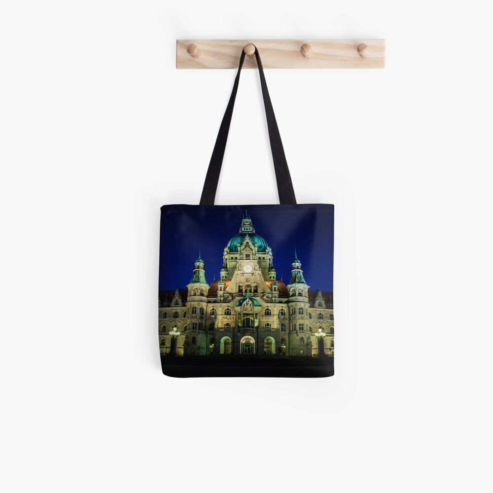 night shot of the town hall of hanover Tote Bag