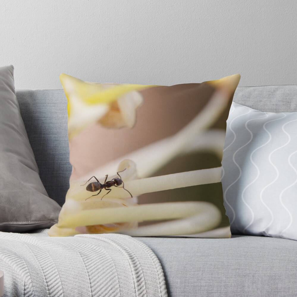 Ants love nectar too Throw Pillow