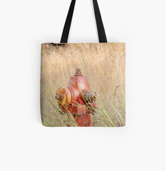 Fire Hydrent in tall grass All Over Print Tote Bag