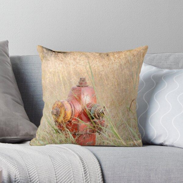 Fire Hydrent in tall grass Throw Pillow