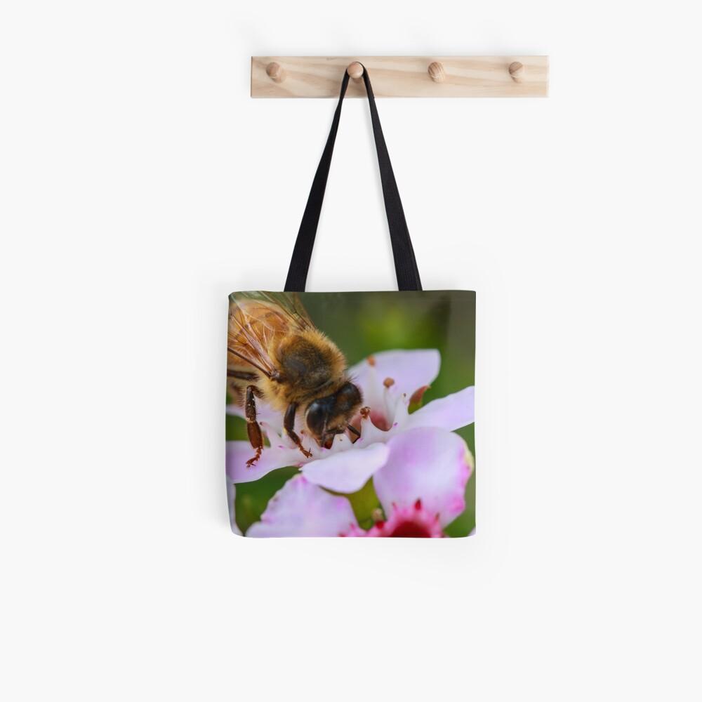 Bee on Geraldton Wax Tote Bag