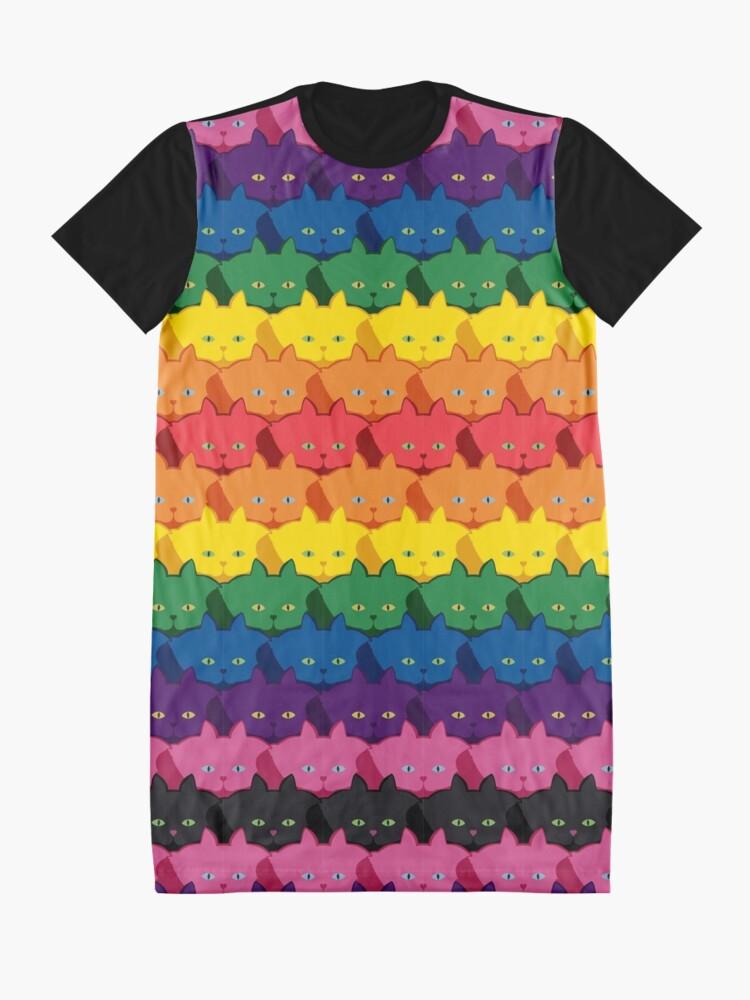 Alternate view of Rainbow Horizontal Stripe Cattern [Cat Pattern] Graphic T-Shirt Dress