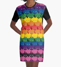 Rainbow Horizontal Stripe Cattern [Cat Pattern] Graphic T-Shirt Dress