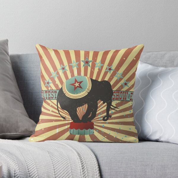 Vintage style circus elephant big top stripes Throw Pillow