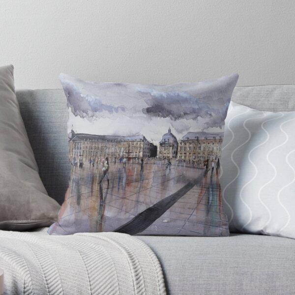 Place de la Bourse - Bordeaux - Watercolor Throw Pillow