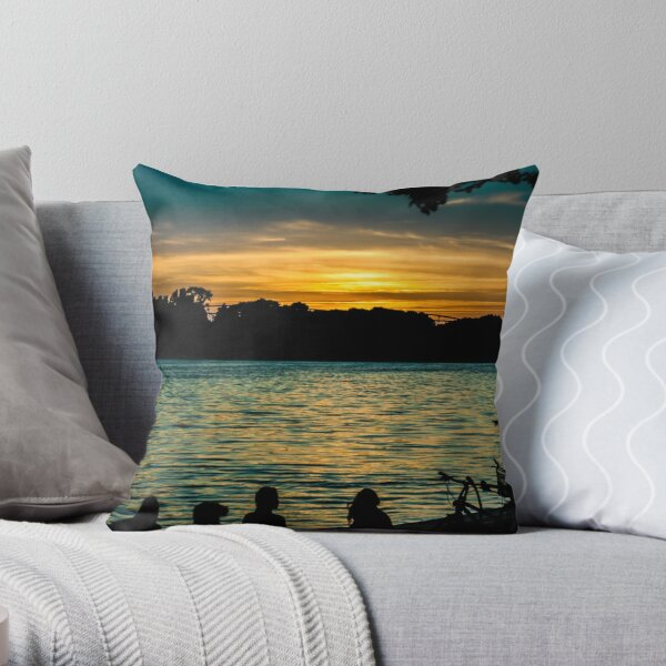 sunset at maschsee Throw Pillow
