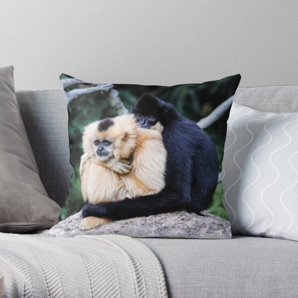 two monkeys Throw Pillow