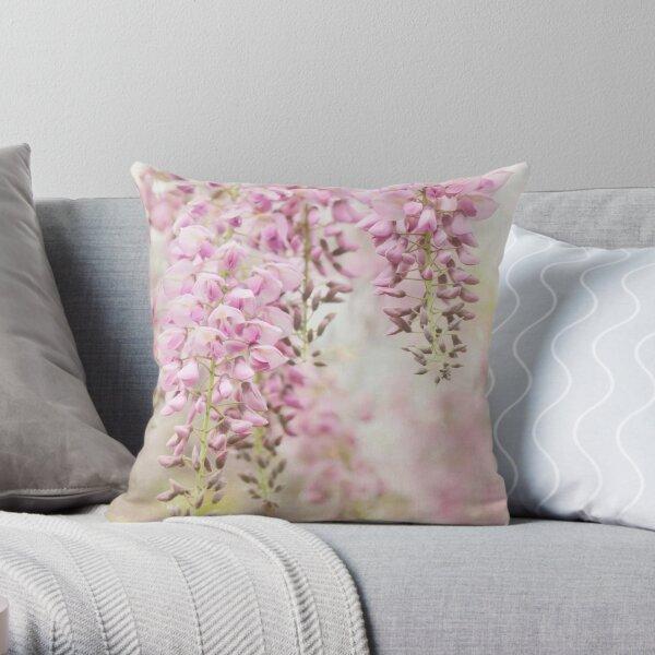 Pink Wisteria Throw Pillow