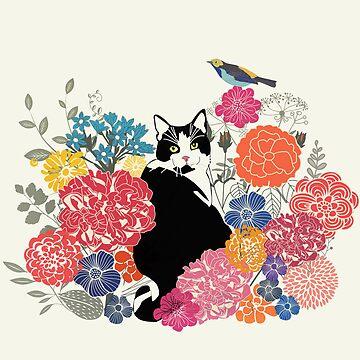 cat in a garden by whatmilk