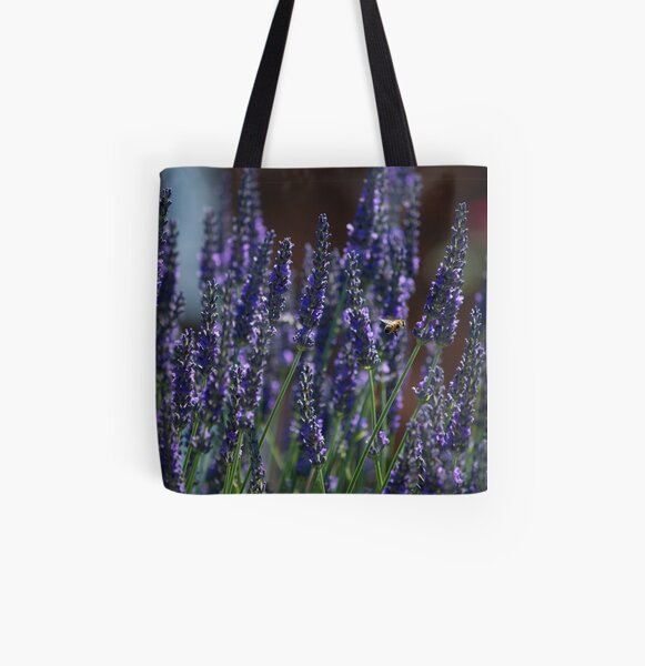 Bee Amongst Lavender All Over Print Tote Bag