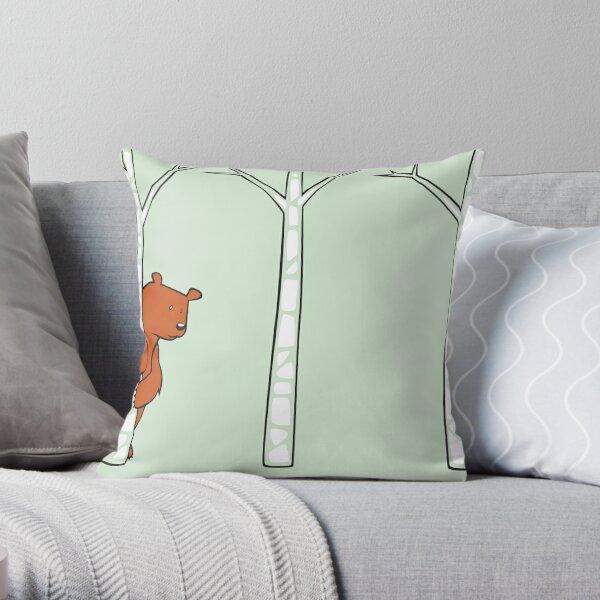 Shy Bear Throw Pillow