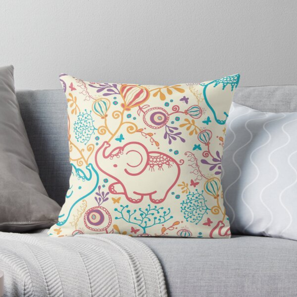 Elephants with bouquets pattern Throw Pillow