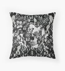 Butterfly lace skull pattern.  Throw Pillow