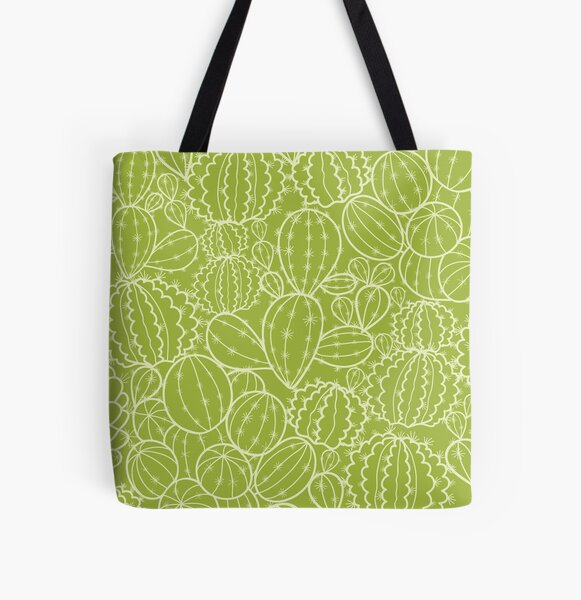 Cactus plants texture pattern All Over Print Tote Bag