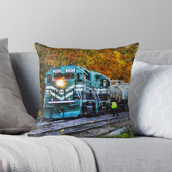 Train in Fall Throw Pillow