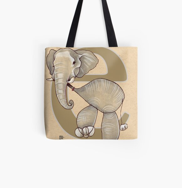 E is for ELEPHANT All Over Print Tote Bag