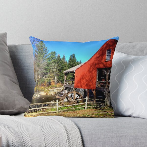 Red Grist Mill of Vermont Throw Pillow
