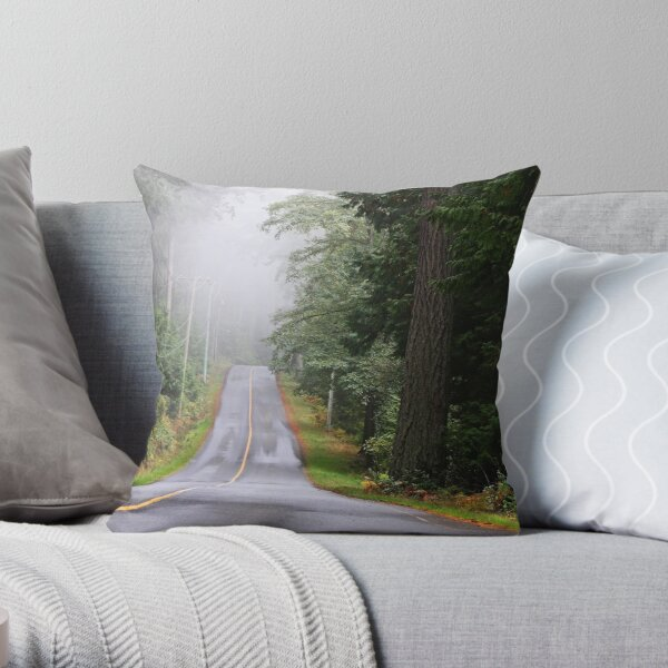 Island Road in October Throw Pillow